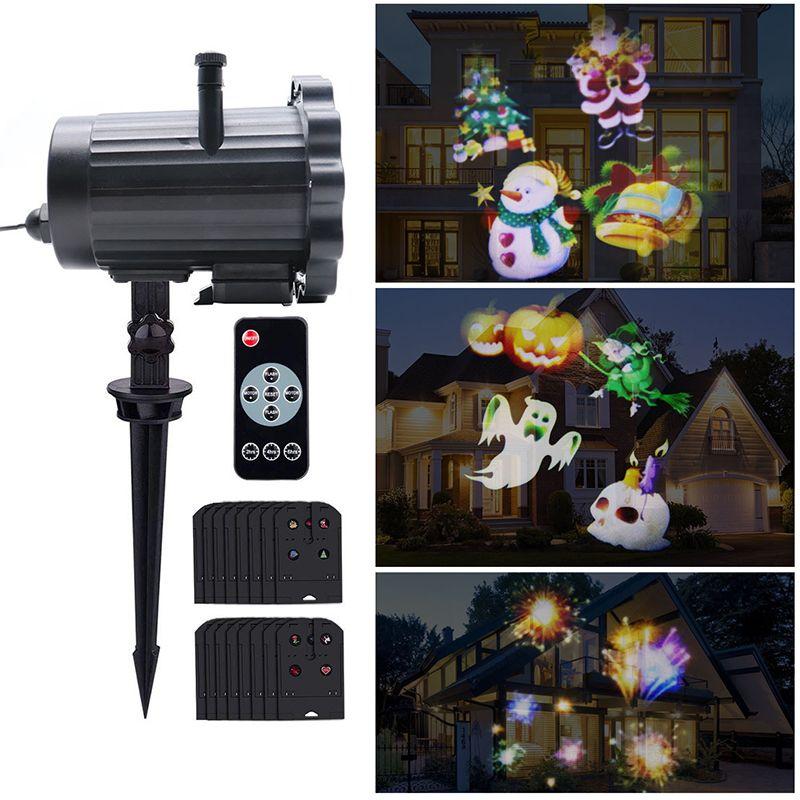 2946c956b71 Compre 2018 Nuevo Proyector LED Luz 16 Patrón Impermeable Paisaje  Iluminación Proyector De Pared Interior Lámpara De Proyección Láser Para  Halloween Navidad ...