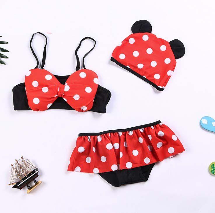 704c8a707e60 2019 Wholesale Baby Girls Swimwear Dots Cute Bowknot Baby Girl Kids Bathing  Suit Swimwear Bikini Set Tankini Swimsuit Beach Wear From Greatamy