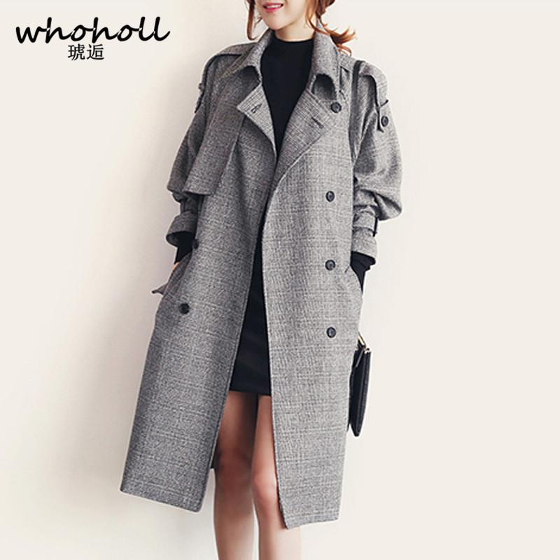 7861b2e091d 2019 WHOHOLL Women Plaid Trench Coat Big Size NEW Autumn Winter Plus ...