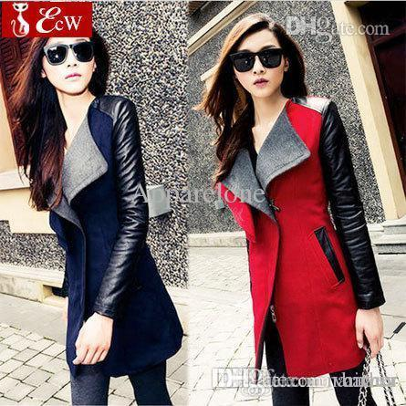 4e774e89e Wholesale-womens jacket Spring Autumn Fashion 2015 jacket for womans Woolen  coat Genuine leather PU stitching long sleeve jacket big size