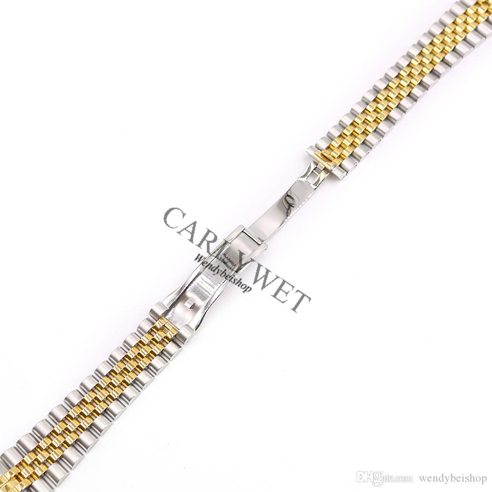 CARLYWET 20mm Wholesale Stainless Steel Jubilee Two Tone Gold Solid Screw Links Wrist Watch Strap Bracelet With Curved End