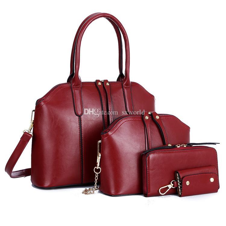 4ef695ae2cf Red fashion 4 pieces ladies wallet ladies pars hand set bag genuine wal