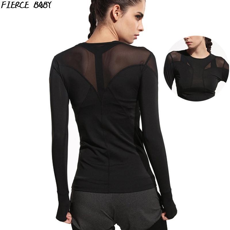 fca2f92f7871d Satın Al Spor Gömlek Kadın Spor Yoga En Tam Kol Seksi Mesh Patchwork Nefes Spor  Giyim Hızlı Kuru Koşu T Shirt Spor Gömlek, $22.84   DHgate.Com'da
