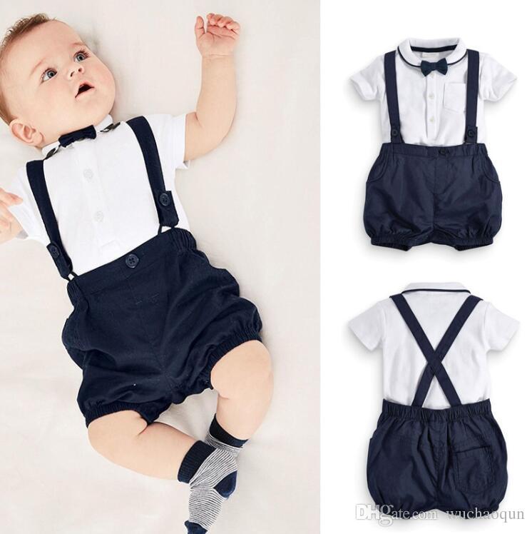 002f09bf84 Roupas de bebê menino recém-nascido Bonito de algodão T-shirt e macacão  conjunto para 0-24 M t-shirt do bebê + curto 2 pcs terno roupas infantis  roupa do ...