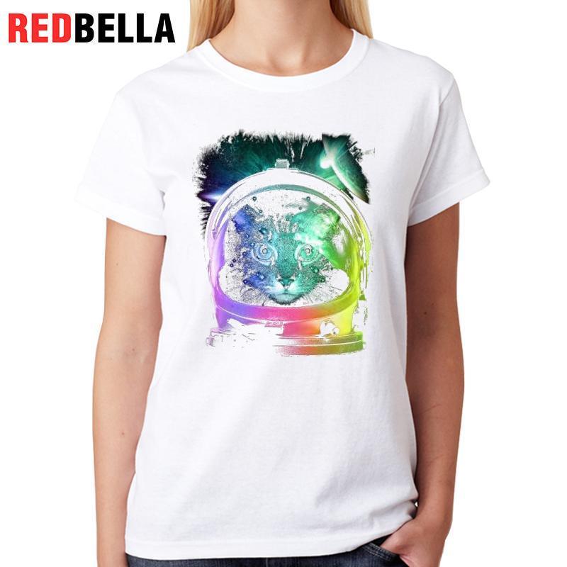 98fbbc997c Compre Camiseta De Mujer Redbella Tumblr Vintage T Shirt Arte Femenino  Diseño Gráfico Pintura Rainbow Cats Gatos Camisetas Artísticas 100% Algodón  Impreso A ...