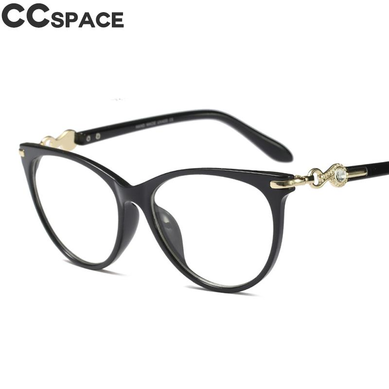 45584 Crystal Diamond Cateye Glasses Frames Women Trending Styles