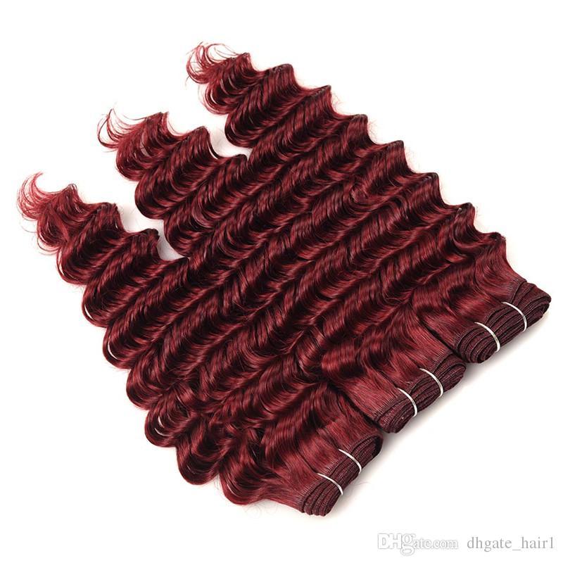 Derin Dalga Brezilyalı Şarap Kırmızı İnsan Saç Paketler Üst Kapatma ile # 99J Bordo 4x4 Dantel Kapatma Virgin Saç Örgü Demetleri ile