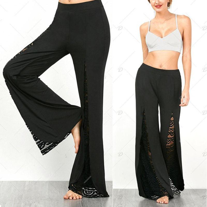 4fea0023cfc 2019 New Fashion Women Boho High Waist Lace Palazzo Pants Wide Leg Long  Loose Culottes Female Casual Apparel Plus Size From Stephanie03