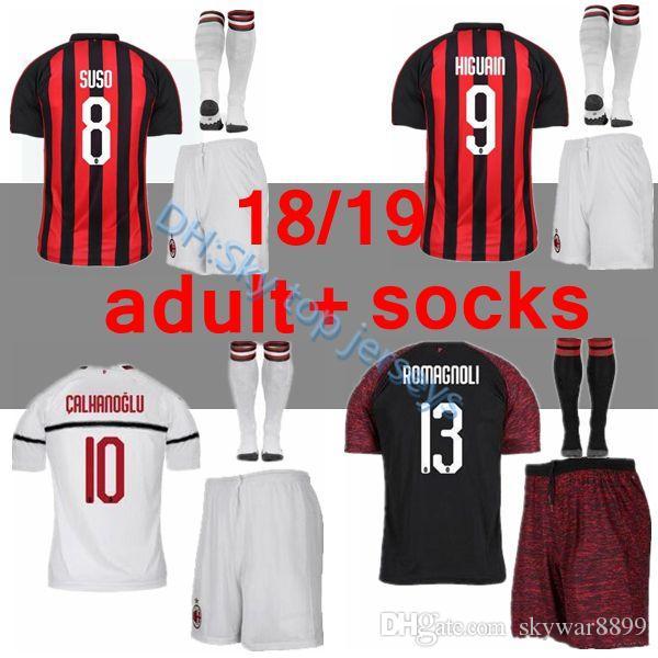 AC Milan 18 19 Soccer Jersey 2018 2019 Football Shirt HIGUAIN BAKAYOKO  BORINI KESSIE CALDARA CUTRONE Camisa CALHANOGLU BONAVENTURA Maillot Online  with ... 528589d75e438