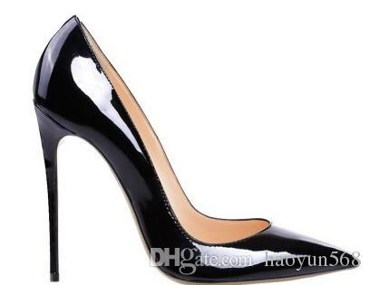 펌프 특허 가죽 Pigalle Heels WOMEN wedding shoes 발가락이 멋있게 발 뒤꿈치 섹시한 여자 빨간색 검정, 하이힐 보라색, 양가죽 35-44