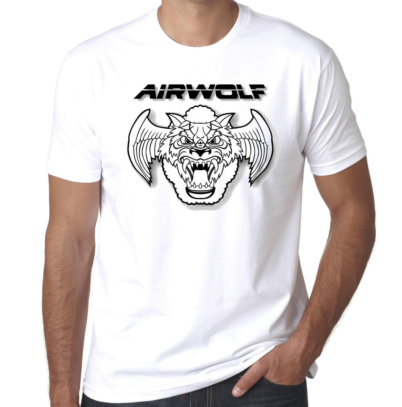Airwolf 80s tv helicopter retro 100% cotton mens printed tshirt Comfortable t shirt Casual Short Sleeve Print 100% Cotton