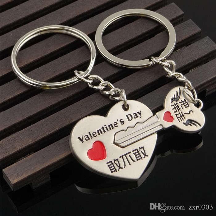 2018 Hot Neuheit Paar Keychain Lovers Herz Schlüsselanhänger Ring Trinket Schmuck Schlüsselbund Valentinstag Hochzeitsgeschenk