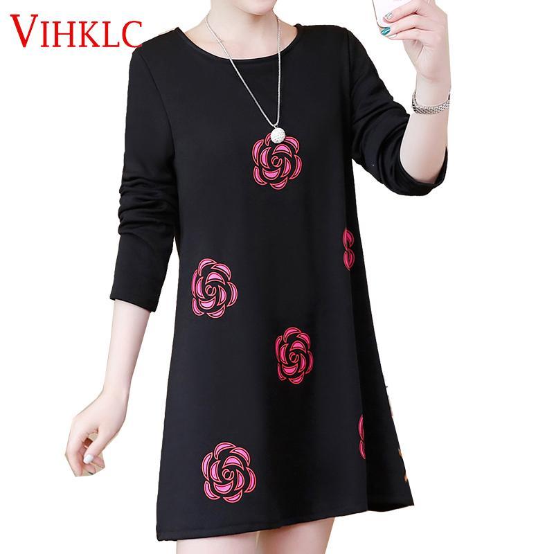 1f74cd89f33af NEW 2018 Aprig autumn women casual print long sleeve t shirt tops & tees  plus size loose fashion tunic big large XL-5XL D134
