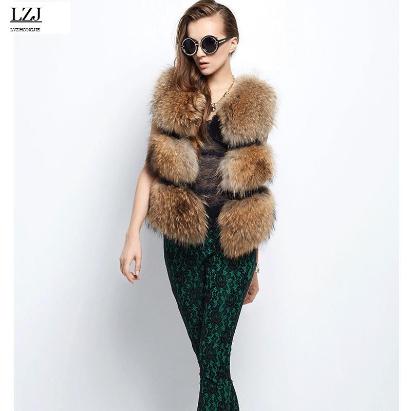 2fe9742b2 LZJ New 2017 Winter Luxury Lady Raccoon Fur Vest Solid Fur Vest High ...