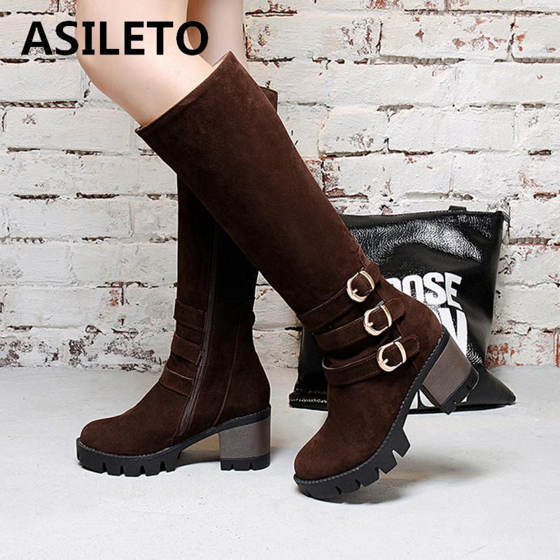 ASILETO brand Knee High boots Mujeres Botas de invierno mujer invierno Snow Zip Larga bota calzado de gamuza sintética botas feminina S738