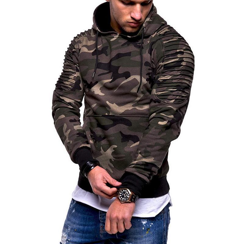 e9948e8d0d6aa Compre Sudaderas Con Capucha De Camuflaje Para Hombre 2018 Nueva Moda  Sudadera Con Capucha De Camuflaje Para Hombre Hip Hop Otoño Invierno  Militar Con ...
