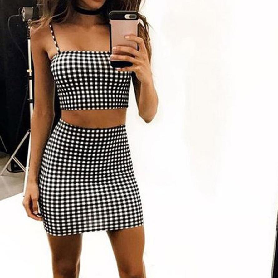 f2bd75637 Women 2 Piece Outfits Sleeveless Plaid Crop Top Blouse+Short Skirt Casual  Set clothes for women Girl strength bts harajuku