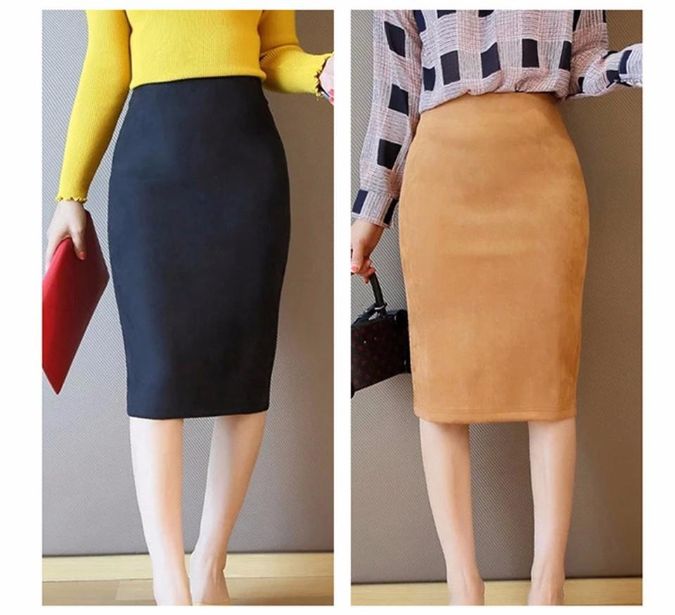 4d60d775597e3b Women Skirts Suede Solid Color Pencil Skirt Female Autumn Winter High Waist  Bodycon Vintage Suede Split Thick Stretchy Skirts Online with $30.0/Piece  on ...