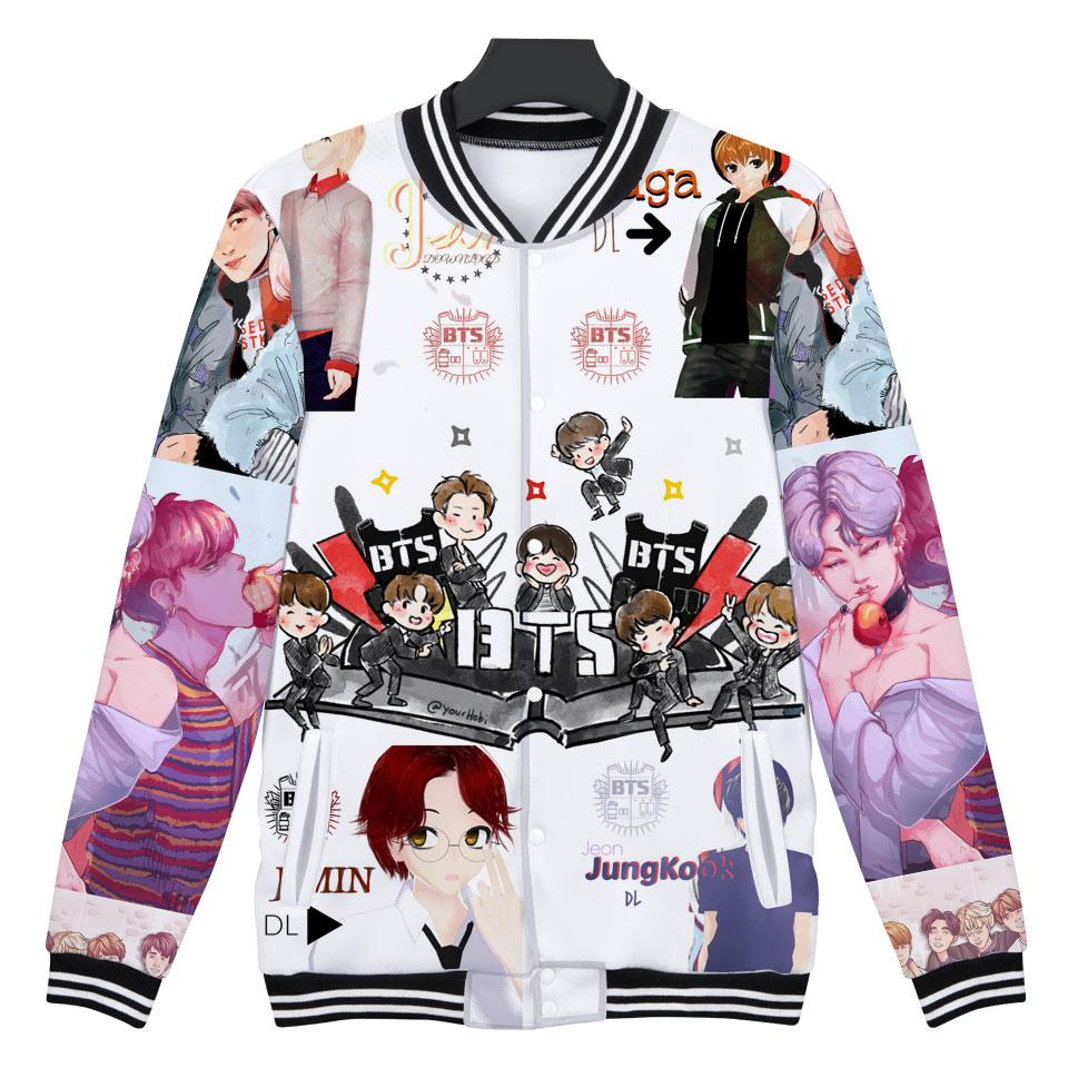 BTS 3D Print Bangtan Boys K-pop Love Yourself Jacket Women BTS Fashion Casual Winter K-pop Hip Hop Female Fans Baseball Jacket