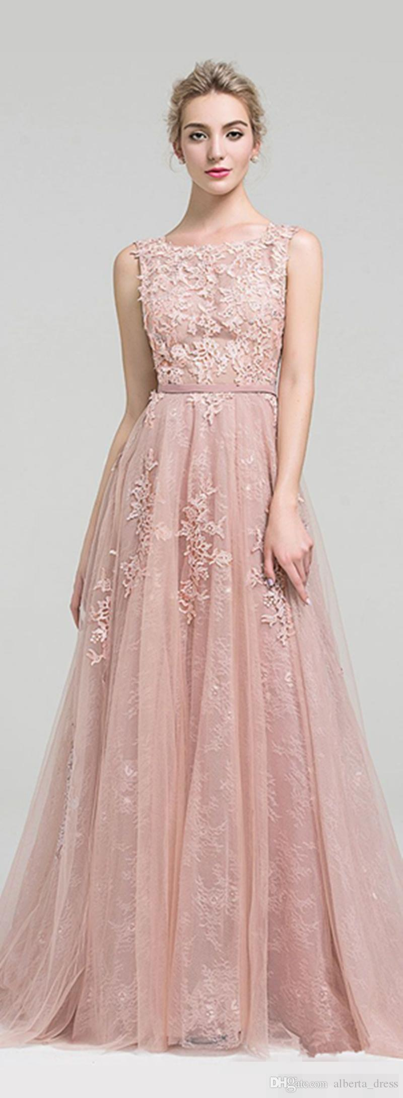 2020 Long Prom Dresses A Line Appliques Lace Sleeveless With Belt Blush Pink Formal Evening Gowns Prom Dress Party dress