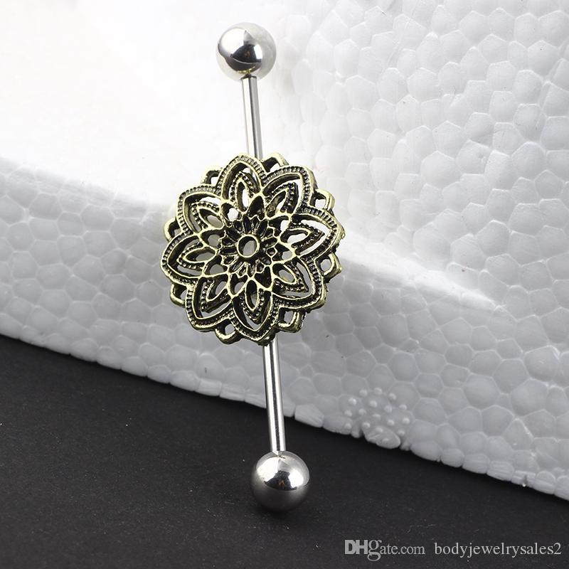 Industrial Barbell Hollow Flower 38mm Cartilage Earring 14G Cartilage Jewelry Piercing Earring