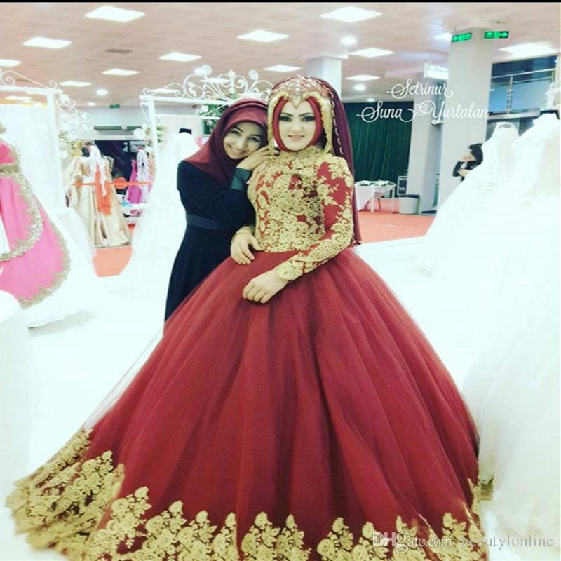 Großhandel 2018 Red Ballkleid Brautkleid Muslim Brautkleider Langarm ...