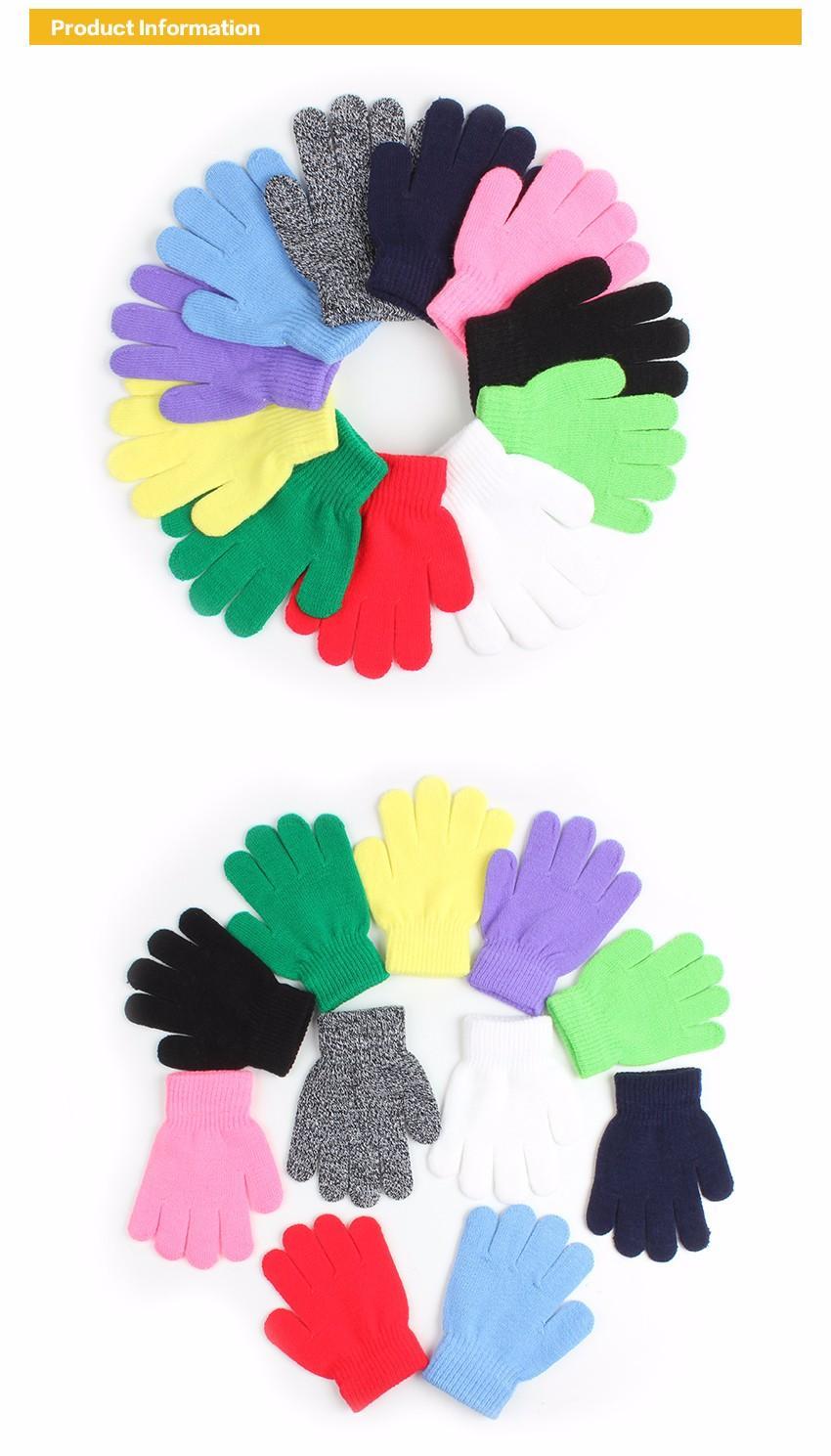 Kids Gloves Warm Baby Children Knitted Stretch Mittens Kids Solid Girls Gloves Full Finger Glove Knitted Random Boys Gloves