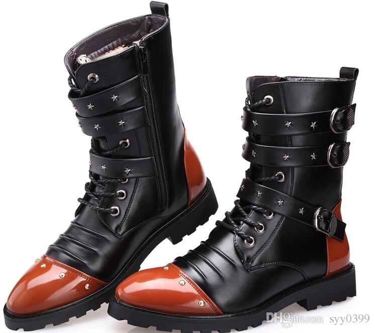 Alta calidad Mantener caliente Botas de uniforme militar Botas altas Botas Martin Botas de motocicleta Hombre Zapatos Tamaño 37 44