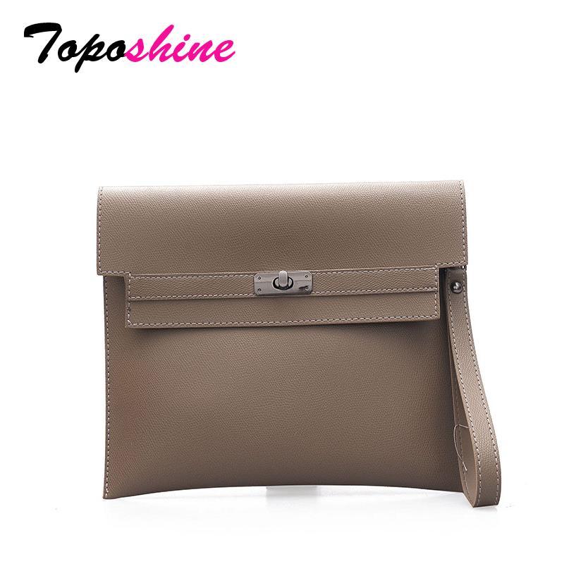 c6b00cfe60 Toposhine Soft Solid PU Leather Women Handbag Hasp Day Clutch Light Female  Message Bag Fashion Business Lady Large File Bag Clutch Purse Cheap Designer  ...