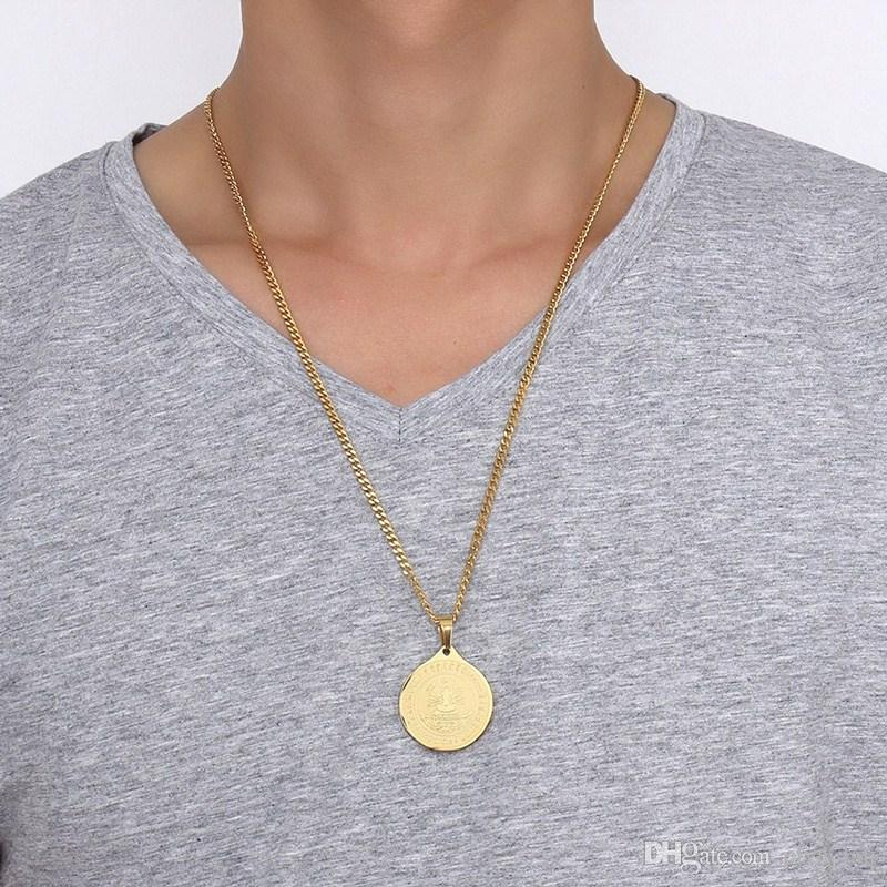 """31MM Thousand-hand Bodhisattva Round Necklaces Pendants For Men Gold Color Stainless Steel Statement Necklace Round Free Chain 24"""""""