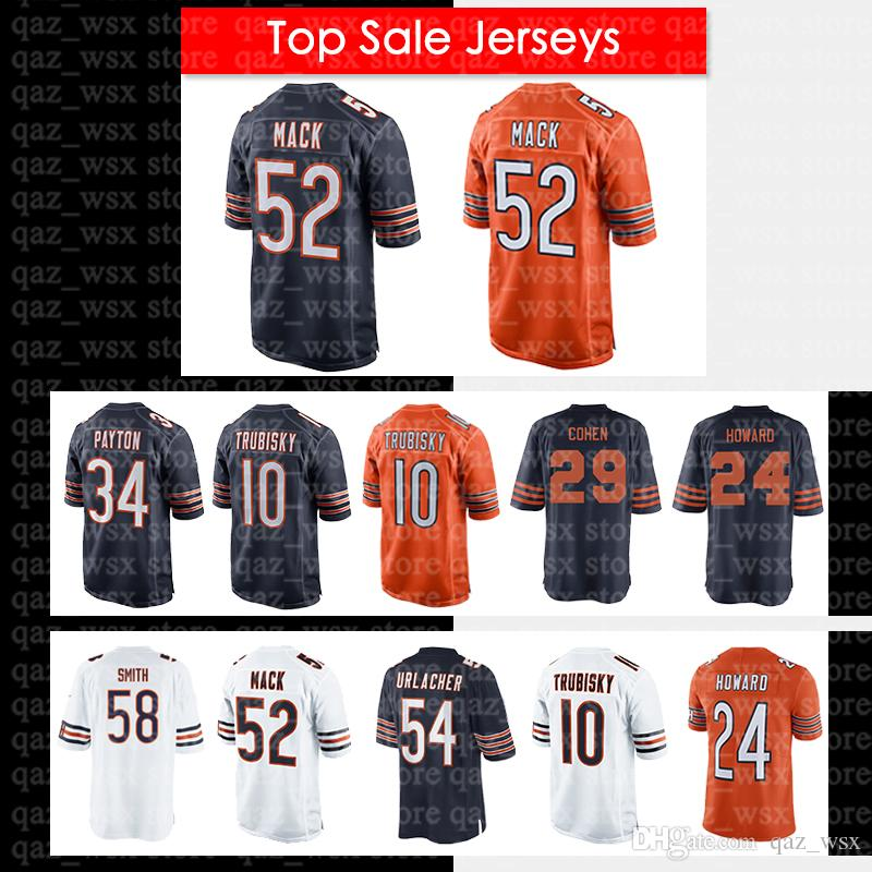 timeless design 724f6 52446 52 Khalil Mack Chicago Bears Jersey 58 Roquan Smith 24 Howard 34 Walter  Payton 29 Tarik Cohen 54 Brian Urlacher Men's Jersey