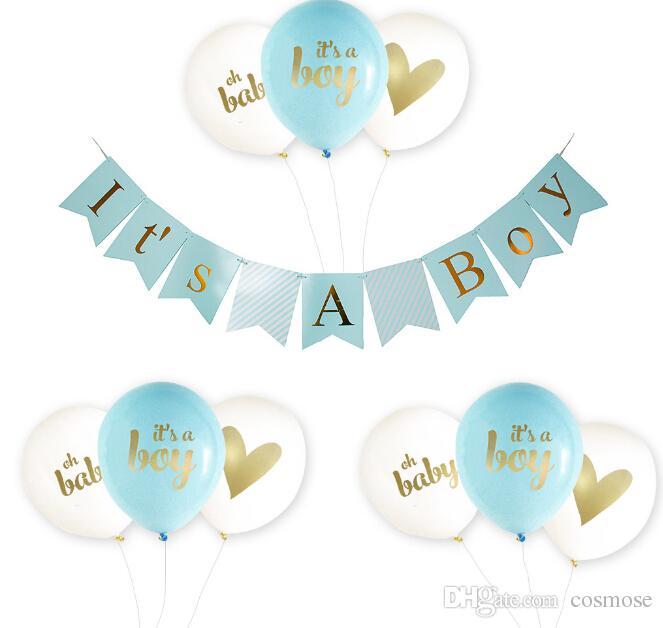Baby Dusche Dekoration Es Ist Ein Junge Rosa Mädchen Baby Shower Banners Und Ballons 1 Geburtstag 1 Jahr One Newborn Baby Shower Decor Party Favor