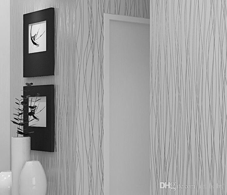 Dokunmamış Moda Ince Akın Dikey Çizgili Duvar Kağıdı Oturma Odası Kanepe Arka Plan Duvarları Için Ev Duvar Kağıdı 3D Gri Gümüş
