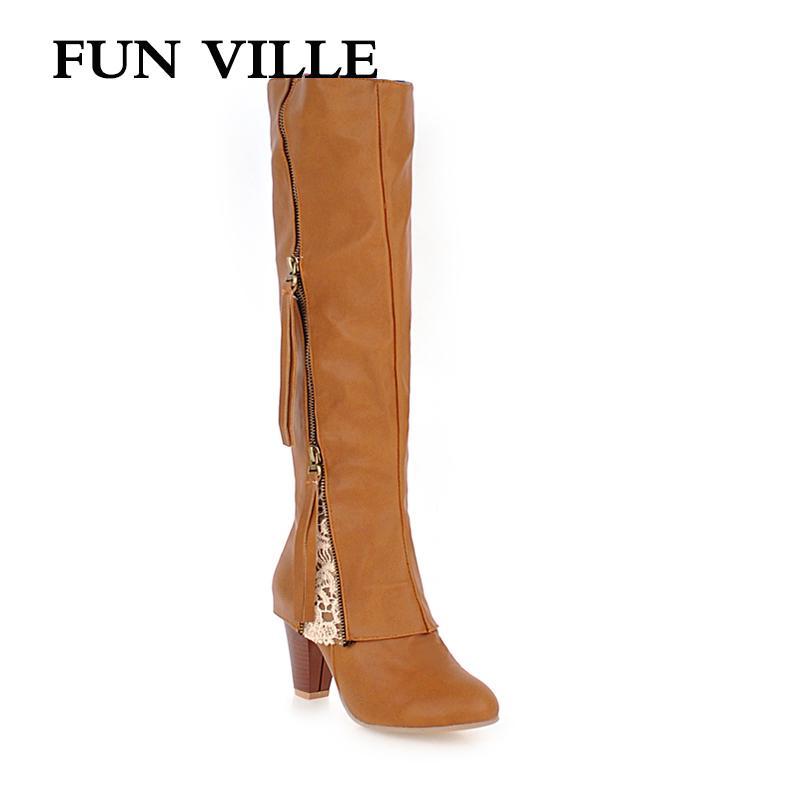 Hiver Ville Épais Femme Chaussures En Fun Femmes Au 2018 Pour Hauts Chaudes Daim Genou Sexy Bottes Fermeture À Fourrure Talons thrdCsQ