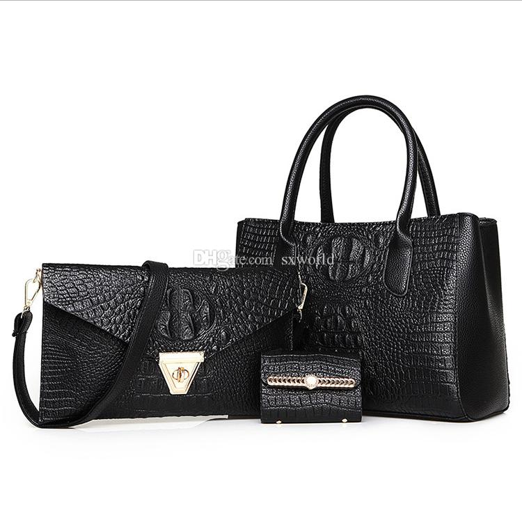 11a140e0ba4f Black Fashion PU Leather Alligator Lady Handbag 3 In Leather Bags For Men  Branded Bags From Sxworld