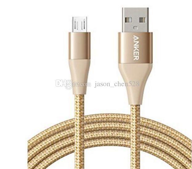 Anker Durable Micro V8 cable trenzado USB de 6 pies para Android Cable Sincronización de datos Cargador Adaptador de cable PowerLine con caja DHL libre