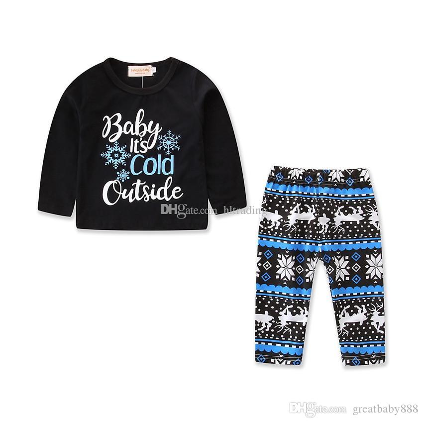 4ebc576738 2019 Baby Girls Christmas Outfits INS Snowflake Letter Top+Deer Print Pants  2018 Autumn Fashion Kids Xmas Clothing Sets C4671 From Greatbaby888