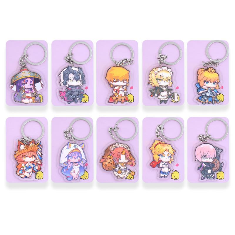 FGO Key Chians Chibi Fate Grand Order Cartoon Keyrings Double Sided Cute  Anime Acrylic Keychain Accessories PCB41-50
