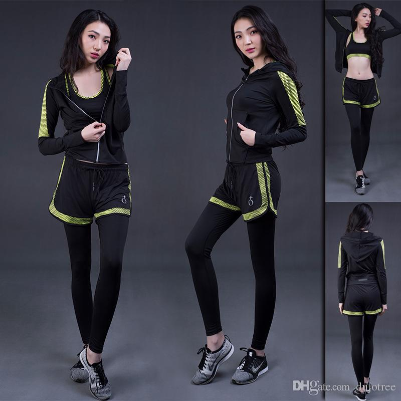 eca1dff13f 2019 Women Yoga Sport Suit Breathable Running Sets Hooded Jacket Push Up Sports  Bra Slim Pants Fitness Leggings Tracksuits From Dujotree