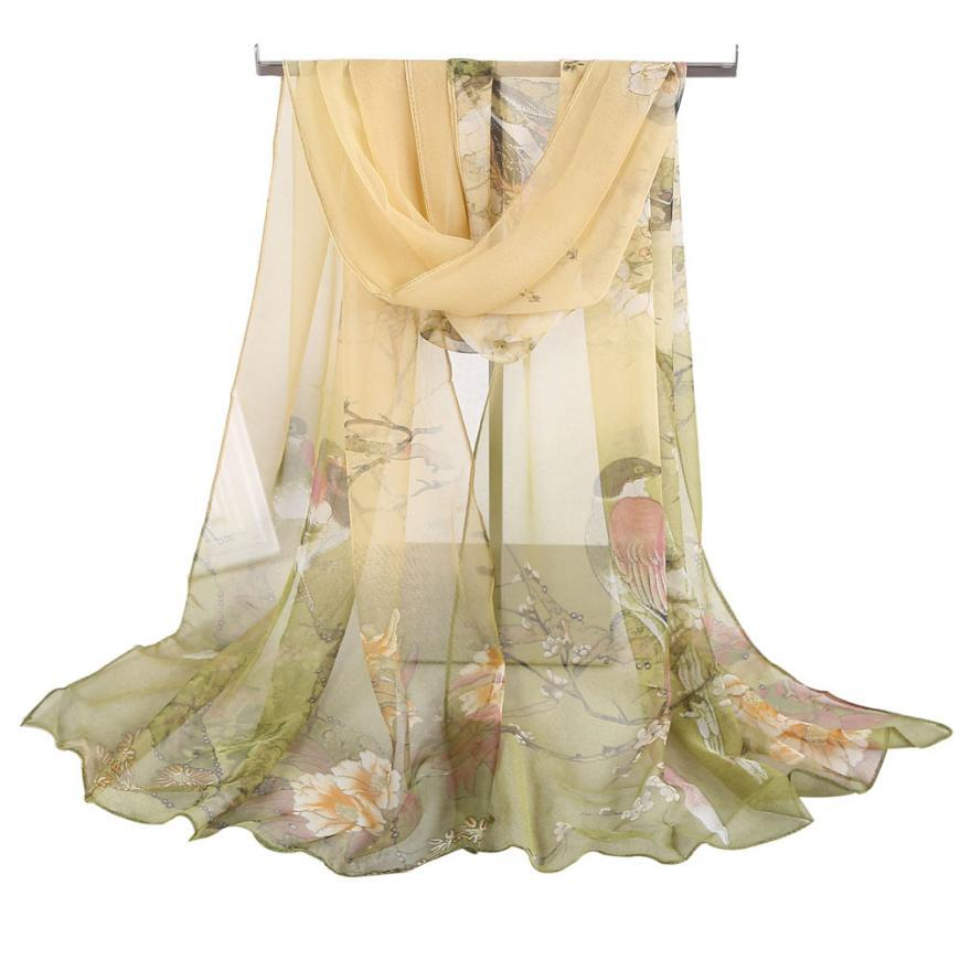 92da029baf60d Women Soft Thin Chiffon Silk Scarf Animal Bird Printed Scarves Wrap Shawl  Swimsuit Cloak Mujer Foulard Stoles Beach Silk Scarf Bandana Quilt Cotton  Bandana ...