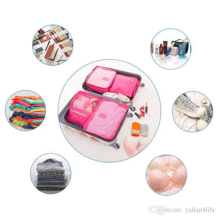 6 adet / takım Moda Iç Çamaşırı Çorap Saklama Poşetleri Su Geçirmez Polyester Erkekler ve Kadınlar Bagaj Seyahat Çantaları Ambalaj Küpleri 8 Renkler