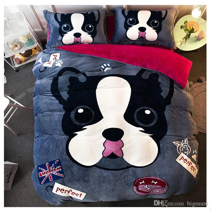 Conjuntos de Cama Flanela Inverno Espessamento Duvet De Pelúcia Animal Bed Set Colchas Folha de Cama Fronhas Macio e quente