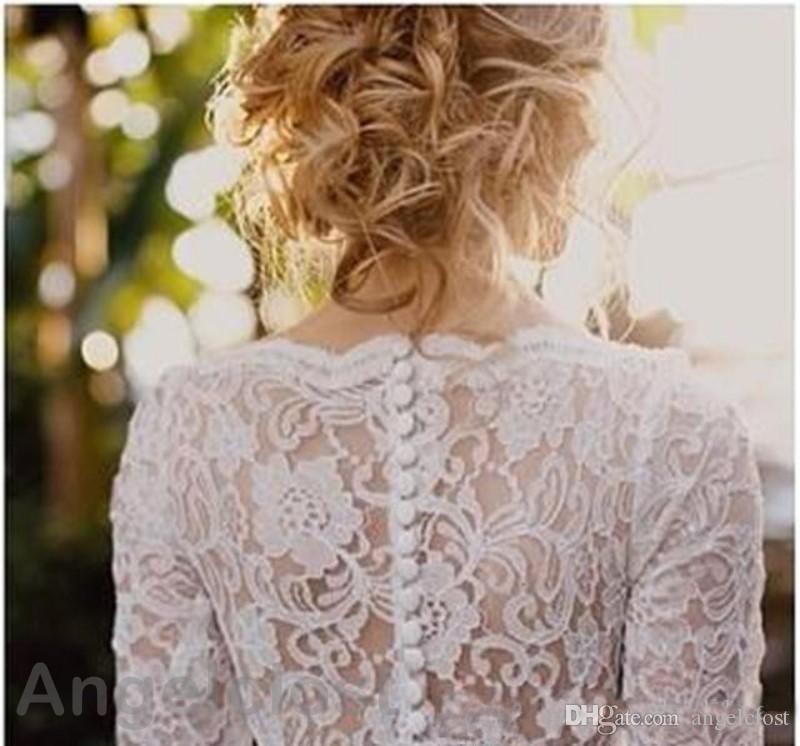 Country Beach Lace Wedding Dresses 2019 Long Sleeves Boat Neck Detachable Train Garden Bridal Gowns Vestido De Novia De Playa Cheap Custom