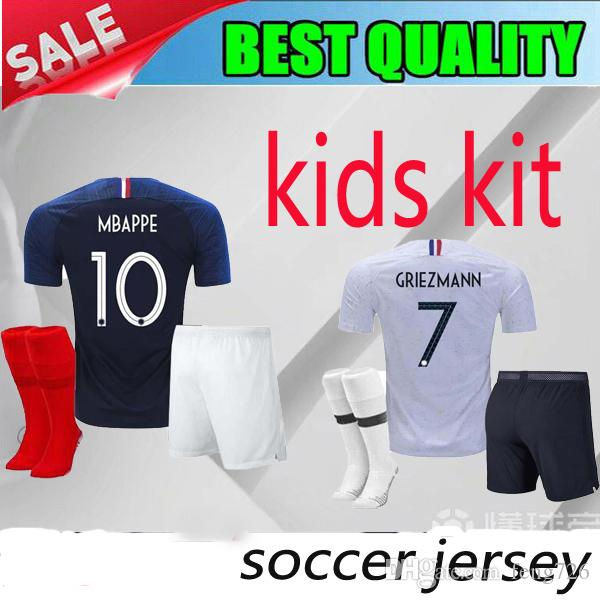 546a3c09d 2019 2 Stars French Kids Kit Pogba Soccer Jersey 2018 World Cup PAYET  DEMBELE MBAPPE 20 GRIEZMANN KANTE National Team Football Shirts COMAN From  Feng726