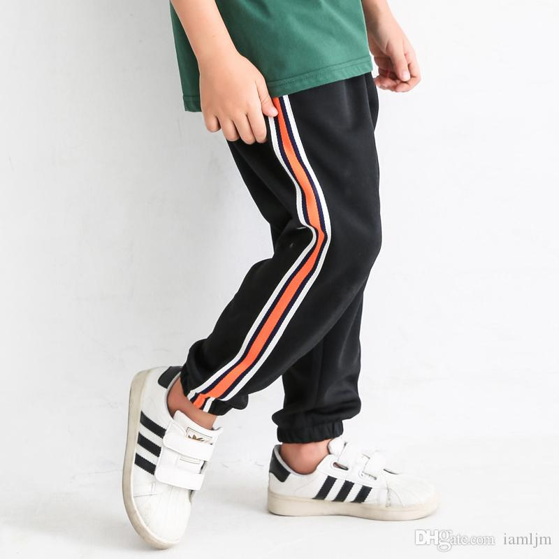 2018 Hot pants Boys' Fashion Fleece Pull On Rainbow robbin Trousers Stretch Active Basic Sweatpants for sport causal A002