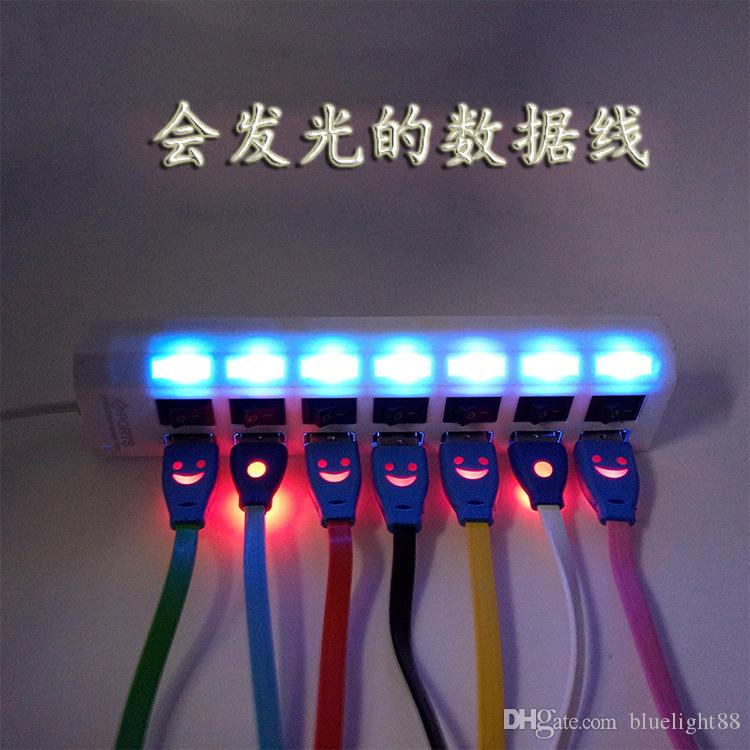 Lighting USB Cables 1M Micro USB Date Cable for Samusng S8 iphone i7 i8 iX Mobile Phone LED Luminous Smile Face charger