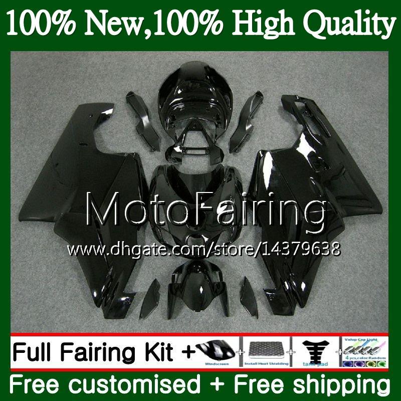 MotorcyMFe Cuerpo negro brillante para DUCATI 749S 999S 749 999 03 04 Carrocería 16MF2 749 999 S 03-04 749R 999R 2003 2004 Kit de carrocería Fairing