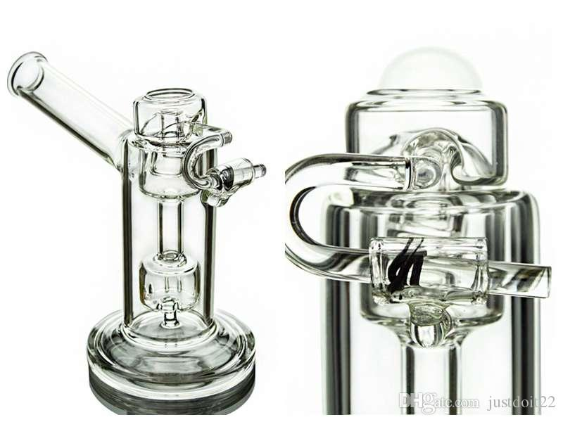 Portable Oil Rig With Quartz Honey Bucket With Swivel Arm Glass Bong With Quartz Carb Cap Mini Dab Rig Small Bong WaterPipes MFE12