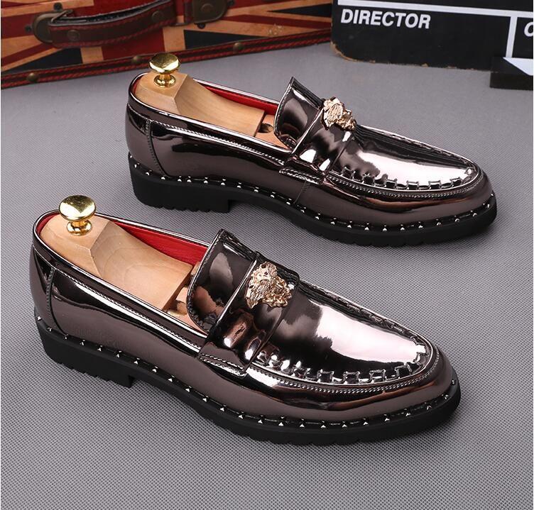 NUEVOS zapatos de hombre de oro Genuino de cuero Casual de conducción Oxfords Pisos zapatos para hombre mocasines mocasines italianos 2018