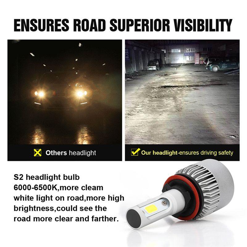 2 قطع h11 سيارة أدى المصباح dc 12-24 فولت الأبيض 6000 كيلو السيارات لمبة كشافات السوبر مشرق شعاع سيارة المصابيح مصابيح ضوء 20000lm